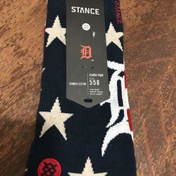 ONLY 1 Stance Official MLB Detroit Socks Brigade Red White Blue Cotton L XL 9-13