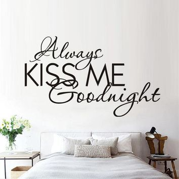 """Always Kiss Me ""Removable Wall Decals Text Vinyl Waterproof Every Love Story Stickers  Modern Wall Sticker Romantic In The Room"