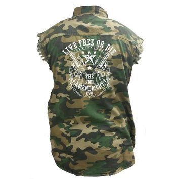 Men's Camo Sleeveless Denim Shirt Live Free Or Die, The 2nd Amendment Denim Vest