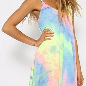 Streetstyle  Casual Multicolor Print Rainbow Tie Dye Weave Spaghetti Strap Shift Loose Mini Dress