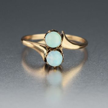 Two Stone Cabochon Toi et Moi Antique Opal Ring 10K Gold
