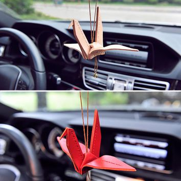 Cowhide Handcraft Origami Paper Cranes Car Hanging Pendant Prayer Blessing Peace Auto Internal Rearview Mirror Decor Ornaments