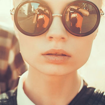 Hipster Black Round Sunglasses, Way Cool!
