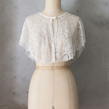 CHANTILLY - Draped ivory cream lace capelet topper // jacket // cape // vintage inspired // topper // cocktail party // shawl wrap // gatsby