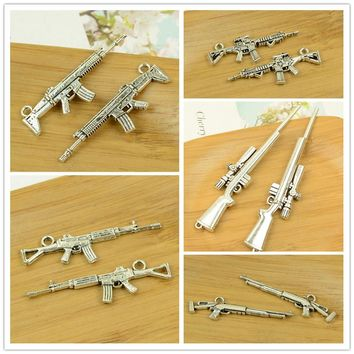 rifle/long machine gun/shooter/AK47/weapon shape antique silver alloy vintage jewelry making accessories findings bracelet beads