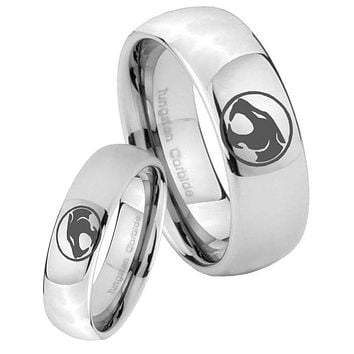 His Her Classic Mirror Dome Thundercats Tungsten Carbide Silver Rings Set