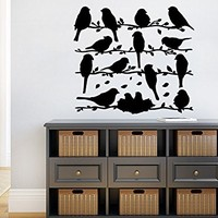 Wall Decals Bird On Branch Childrens Decor Kids Vinyl Sticker Wall Decal Nursery Baby Room Bedroom Murals Playroom Bird Decor C563