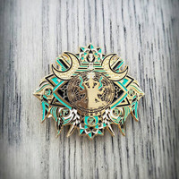 V3 DMT Dreamscape (Gold/Teal) - Glow in the Dark Hat Pin