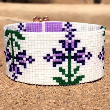 Purple Spring Flowers Bead Loom Bracelet Bohemian Boho Artisanal Jewelry Indian Western Bead Native American Style Southwestern Rodeo