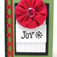 Christmas Mini Journal - Mini Notebook - Holiday Journal - Stocking Stuffer - Hostess Gift - Joy Journal - Green and Red Argyle