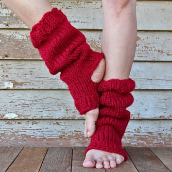 Tall & Slouchy Knitted Yoga Sock - Pedicure Socks -  Chunky Dance Socks - Pilates Socks - Toeless Sock