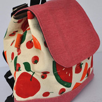 Quality New Zealand canvas mixed fruit pattern - schoolbag in canvas - Christmas gift item- Canvas backpack - Helgenfjord backpack