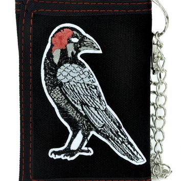 Death Raven Tri-fold Wallet with Chain Gothic Poetry Edgar Allan Poe