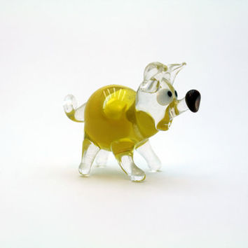 Handcrafted  Yellow Glass Pig ,Glass Art,Glass Figure,Collectible Figurine,Glass Sculpture,Unique Glass Figurines,Glass Miniature (n324)