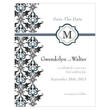 Lavish Monogram Save The Date Card Berry (Pack of 1)