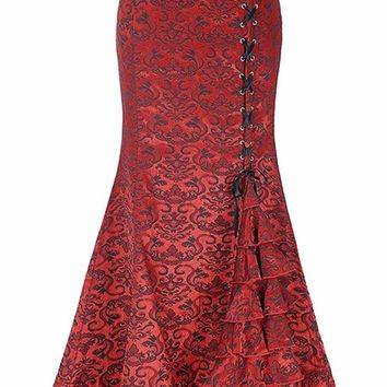 Atomic Red Jacquard Ruffled Fishtail Skirt - Size XL Only