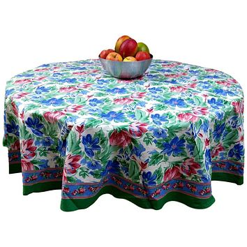 Floral Brush Stroke Print Cotton Tablecloth Rectangular Round Green Blue, Table Linen
