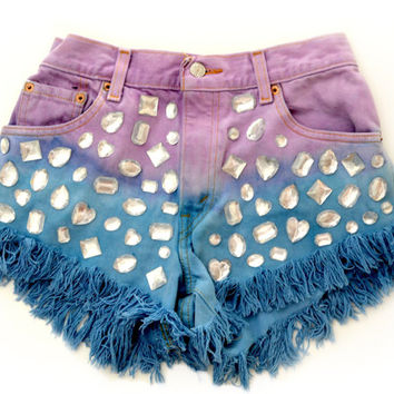 "ALL SIZES ""Jeweled Twilight"" High Waisted Shorts"