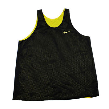 Vintage 90s NIKE Reversible Black/Yellow Basketball Jersey Mens Size Large