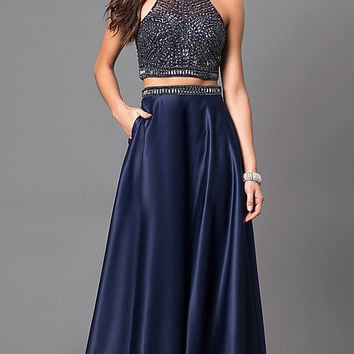 Two-Piece Prom Dress with Beaded Top and Pockets