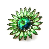 Watermelon Rivoli Flower Brooch / Green Rhinestone Floral Unsigned Pin / Vintage 1960s Jewelry