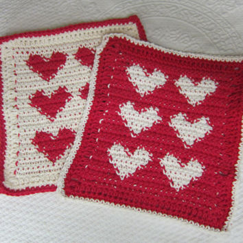 Crochet Dishcloth,Washcloth,Cotton Dishcloths,Heart Dishcloths,Hearts,Valentines,Red Heart,Kitchen,Retro,Vintage,Hot pads,Set of two,Gifts