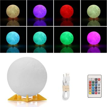 3 D Print Moon Lamp Color Change Touch Switch