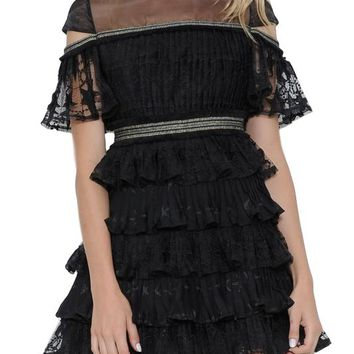 Pleated star lace tiered dress