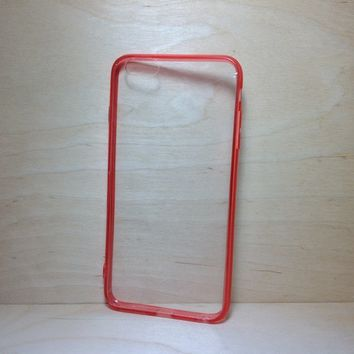 For Apple iPhone 6 Plus (5.5 inches) Red Silicone Bumper and Clear Hard Acrylic Case