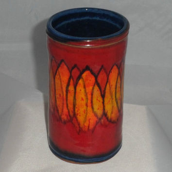 Abstract pot or beaker vase by Fosters pottery of Redruth. Striking Cornish studio pottery. 1970s vintage home decor