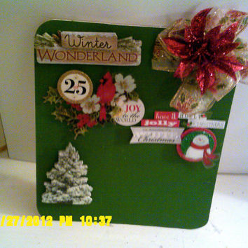 SANTA CLAUSE and CARDINAL Picture frame. Green and Red Christmas bright picture frame