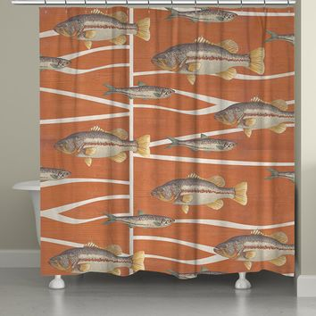 Cabin Life - Fish Shower Curtain