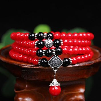 New Fashion 6mm Dyed Red Coral  Beads Tibetan Buddhist 108 Prayer Beads Necklace Gourd mala Prayer Bracelet for Meditation