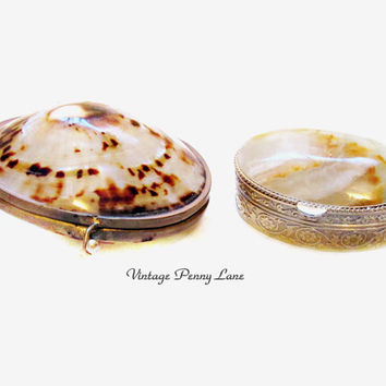 Vintage Alabaster Trinket Box, Shell Compact / Coin Purse