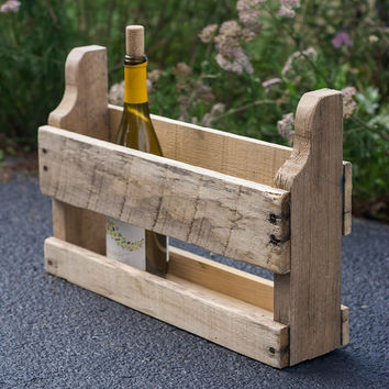 Rustic Wine Rack - Small Wood Wine Rack - Reclaimed Pallet Wine Rack - Reclaimed Wine Rack - Pallet Furniture - Wine Storage - Counter Decor