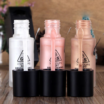 Professional 3 Color Highlighter liquid Face Concealer liquid eyes brighten cream Make Up Cosmetic A2