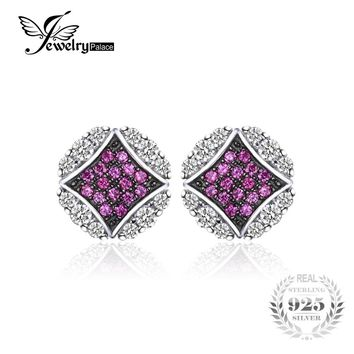 JewelryPalace Gorgeous 0.5 ct Created Ruby Round Pave Stud Earrings For Women Genuine 925 Sterling Silver Charms Vintage Jewelry