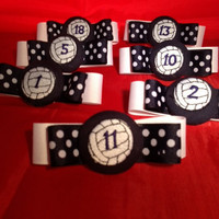 Personalized Volleyball Bows-Embroidered Number on Each Hair Bow in Your Team Colors.