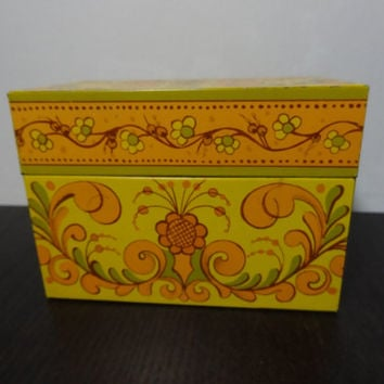 Vintage Retro Avon Metal File Box with Yellow, Green, and Orange Flowers & Flourishes Design - Includes Alphabetical Cards and Index Cards
