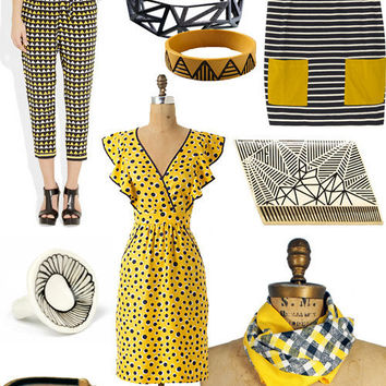 outfitted: black, white, yellow