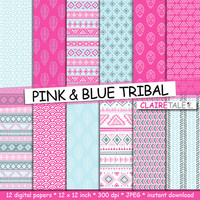 "Tribal digital paper: ""PINK & BLUE TRIBAL"" with tribal patterns in pink and blue shades for scrapbooking, invitations, cards"
