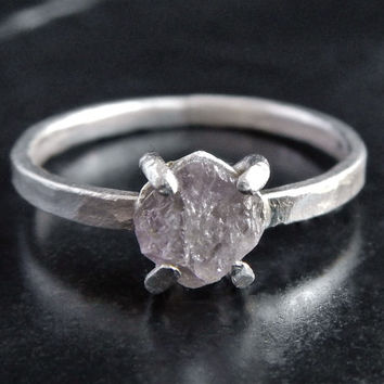 Rough Pink Diamond and Sterling Silver Ring - Pink Diamond Ring - Engagement Ring - Diamond Crystal Ring - Rough Stone Ring - Gift for Her