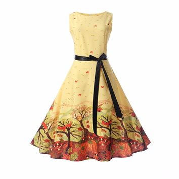 Women Retro Dress 50s 60s Vintage Rockabilly Swing Feminino Vestidos Floral Butterfly Pattern Sleeveless Party Dresses With Sash