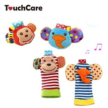 Newborn Soft Cotton Baby Boy Girl Toys Infant Animal Monkey Elephant Wrist Strap Rattles Socks Foot Toys