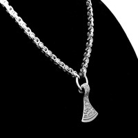 Viking Inspired Mammen Axe Pendant On Premium Quality Stainless Steel Byzantine Chain