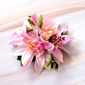 Pink Chrysanthemum Hawaiian Flower Hair Clip