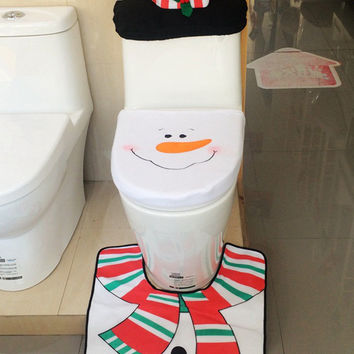 Multicolor Snowman Toilet Seat Cover and Rug Set