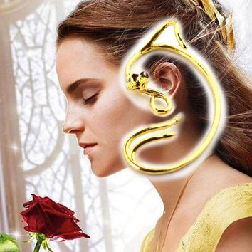 Drop Shipping Beauty and the Beast Earrings Ear Cuff Belle Cosplay Jewelry Gold Color Rose Stud Earrings Fairy Tale Movie Hot