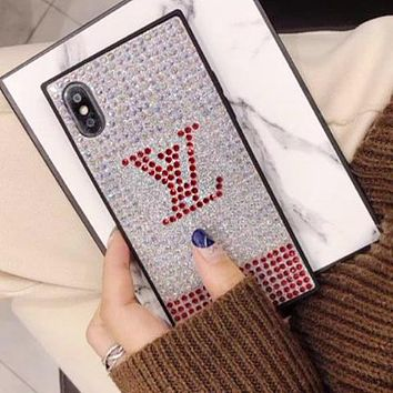LV Chanel Supreme Popular Personality Water Drill Mobile Phone Case All-Inclusive Iphone X Luxury Case Glitter Protective Diamond Case(6-Style) LV Silvery I12215-1