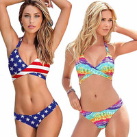 2017 Unique Summer Sexy Women Stars Stripes USA Flag Bikini Padded Bra Bandeau Swimsuit America Flag Swimwear Backless Beachwear
